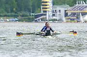 Poznan, POLAND.   2004 FISA World Cup, Malta Lake Course.  <br /> <br /> Fri. morning from the start pontoon<br /> GER M4X Bow Andre Willms, Stephan Volkert, Marco Geisler and Robert Sens<br /> <br /> 09.05.2004<br /> <br /> [Mandatory Credit:Peter SPURRIER/Intersport Images]