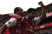 Photo: Olly Greenwood.<br />Arsenal v Reading. The Barclays Premiership. 03/03/2007. Arsenal's Julio Baptista celebrates scoring with Denilson