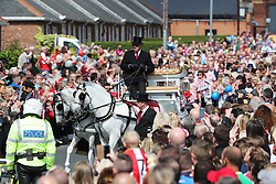 The funeral cortege for Bradley Lowery, the six-year-old football mascot whose cancer battle captured hearts around the world, on their way to St Joseph's Church for his funeral in Blackhall, County Durham.