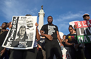 Protest in New Orleans at Lee Circle against police brutality following the killing of Alton Sterling in Baton Rouge and Philando Castile in Minnesota on July 8, the day after 5 police officers will killed by a sniper in Dallas.