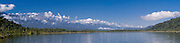Panoramic view across Lake Ianthe with the Wilberg Range of the Southern Alps in the background, West Coast, New Zealand.