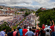 5 July 2009 - Tegucigalpa, Honduras - Supporters of ousted Honduras' President Manuel Zelaya march towards the Tegucigalpa airport during a protest march to greet Zelaya. President Zelaya has stated that he will return tomorrow to challenge the government that overthrew him setting the stage for a dramatic standoff. His supporters have been marching in the capital's streets since he was ousted last Sunday.