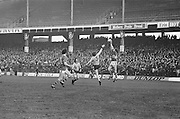 Kerry jumps higher than Dublin to gain possession of the ball during the All Ireland Senior Gaelic Football Semi Final, Dublin v Kerry in Croke Park on the 23rd of January 1977. Dublin 3-12 Kerry 1-13.