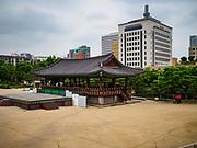 14 JUNE 2018 - SEOUL, SOUTH KOREA: The Cheonugak Pavilion in Namsangol in central Seoul.       PHOTO BY JACK KURTZ