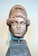Head of Athena, Pentelic marble.  Found in the Roman Agora of Athens.  The goddess wears a Corinthian helmet.  The head belongs to a statue of the goddess in full armour ca. 450 BC