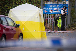 © Licensed to London News Pictures.  19/09/2021. London, UK. Police guard a crime scene after been called at 10:13pm on Saturday 18 September, to reports of a man  found injured outside Belvedere Railway Station in Bexley, south London. A critically injured man, believed to be in his 40s was prounanced dead at the scene. Photo credit: Marcin Nowak/LNP