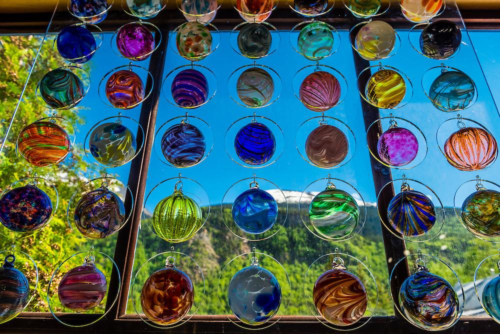 Handblown glass, Garden City Glass @ Jewell Gardens, Skagway, Inside Passage, southeast Alaska USA.