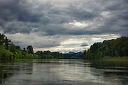 USA, Oregon, Willamette Mission State Park, the Willamette River from the Wheatland Ferry landing. Digital Composite, HDR