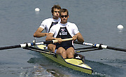 2005 FISA Rowing World Cup Munich,GERMANY. 18.06.2005; GBR M2-  Bow. Josh West and Kieran West.Photo  Peter Spurrier. .email images@intersport-images...[Mandatory Credit Peter Spurrier/ Intersport Images] Rowing Course, Olympic Regatta Rowing Course, Munich, GERMANY