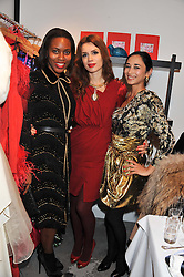 Left to right, SUSAN BENDER, LARA BOHINC and HANNAH BHUIYA at a dinner hosted by Carmen Haid at Atelier Mayer, 47 Kendal Street, London W2 on 21st February 2012.