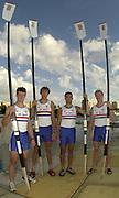 2002 World Rowing Championships - Seville - SPAIN..GBR M4- Steve WILLIAMS, Josh WEST, Toby GARBUTT, Rick DUNN, [Mandatory Credit: Peter SPURRIER/Intersport Images]<br /> <br /> 20020921 World Rowing Championships Seville, SPAIN