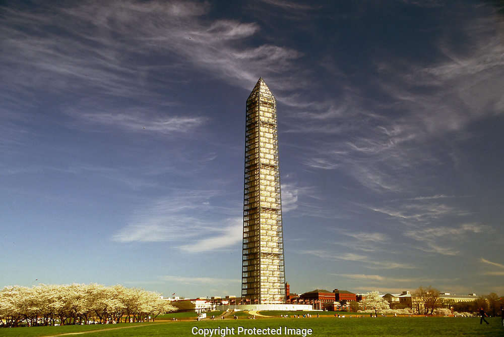 A 26.9 MG FILE FROM FILM OF:.The Washington Monument as it undergoes a major rennovation. Photo by Dennis Brack