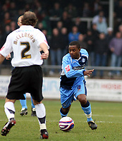 Photo: Mark Stephenson/Richard Lane Photography. <br /> Hereford United v Wycombe Wanderers. Coca-Cola League Two. 15/03/2008. Wycombe's Leon Knight attacks Hereford's Trent McClenhahan