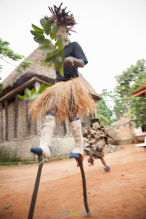 Performers at a traditional dance to animal spirits, at the Fons Palace in Bafut, Cameroon