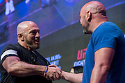 LAS VEGAS, NV - JULY 6:  Mike Dolce shakes hands with Dana White during the UFC Fight Night weigh-ins at T-Mobile Arena on July 6, 2016 in Las Vegas, Nevada. (Photo by Cooper Neill/Zuffa LLC/Zuffa LLC via Getty Images) *** Local Caption *** Mike Dulce