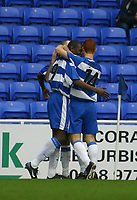 Photo: Jo Caird<br /> Reading v Derby<br /> Madejski Stadium<br /> Nationwide Div 1 2004<br /> 31/01/2004.<br /> <br /> Shaun Goater's goal is celebrates by Steve Sidwell