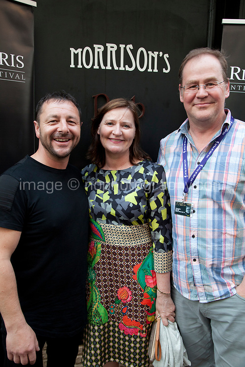 Zeb Moore, Christopher Bolton and guest at the Richard Harris International Film Festival short film screening at the 70th Cannes Film Festival, Wednesday 24th May 2017, Morrison's Irish Pub, Cannes, France