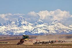 Farming in Teton Valley Idaho below the Grand Tetons