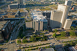 Archival aerial view of Texas Medical Center in Houston, Texas