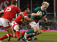 James Tracey of Ireland runs forward to score a try during the 2016 Guinness Series  autumn international rugby match, Ireland v Canada at the Aviva Stadium in Dublin, Ireland on Saturday 12th November 2016.<br /> pic by  John Halas, Andrew Orchard sports photography.
