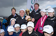 The Aberdeen Asset Management Scottish Open Golf Championship 2012 At Castle Stuart Golf Links..Final Round Saturday 14-07-12.. .Rt Hon First Minister Alex Salmond MSP  with the Ryder Cup, along with  European Tour Chief Exec George O'Grady  and Aberdeen Asset Management Chief exec Martin Gilbert during the Final Round of The Aberdeen Asset Management Scottish Open Golf Championship 2012 At Castle Stuart Golf Links. The event is part of the European Tour Order of Merit and the Race to Dubai....At Castle Stuart Golf Links, Inverness, Scotland...Picture Mark Davison/ ProLens PhotoAgency/ PLPA.Saturday 14th July 2012.