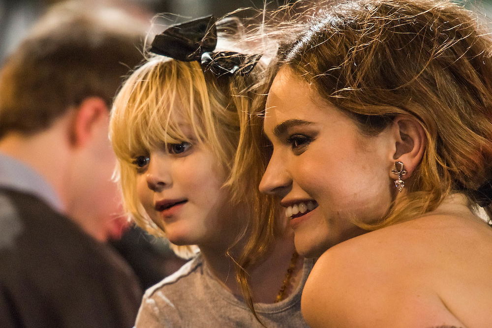 Lilly James doindg selfies with the fans - The European premiere of Pride and Prejudice and Zombies.