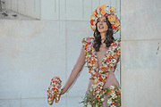 Bruna Miranda in a flower dress on the M&G garden - The Chelsea Flower Show organised by the Royal Horticultural Society with M&G as its MAIN sponsor for the final year.