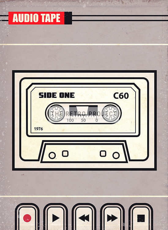 Mid Century Audio Cassette Tape Sound System Illustration with grey background and aged textured overlays