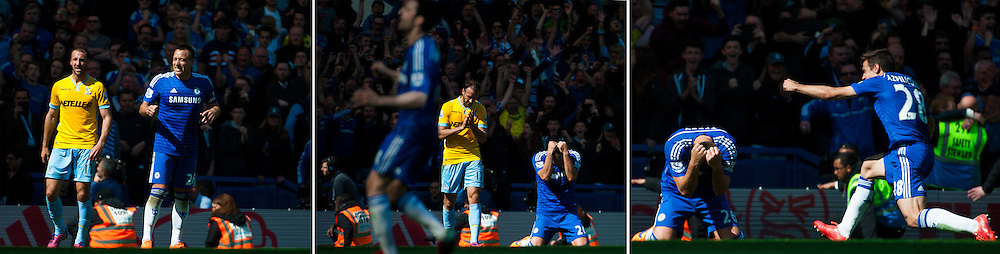 Captain John Terry and Chelsea defender Cesar Azpilicueta react at the final whistle as Chelsea win the Premier League title against Crystal Palace at Stamford Bridge, London<br /> Picture by Jack Megaw/Focus Images Ltd +44 7481 764811<br /> 03/05/2015