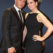 NLD/Amsterdam/20151015 - Televiziergala 2015, Jeoren van Koningsbrugge en partner Marie-Claire Witlox