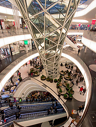 Interior of MyZeil modern shopping mall in Frankfurt Germany