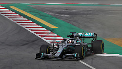 Mercedes' Lewis Hamilton goes off during day two of pre-season testing at the Circuit de Barcelona-Catalunya.