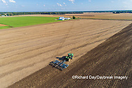 63801-11809 Tilling field after soybean harvest-aerial Marion Co.  IL