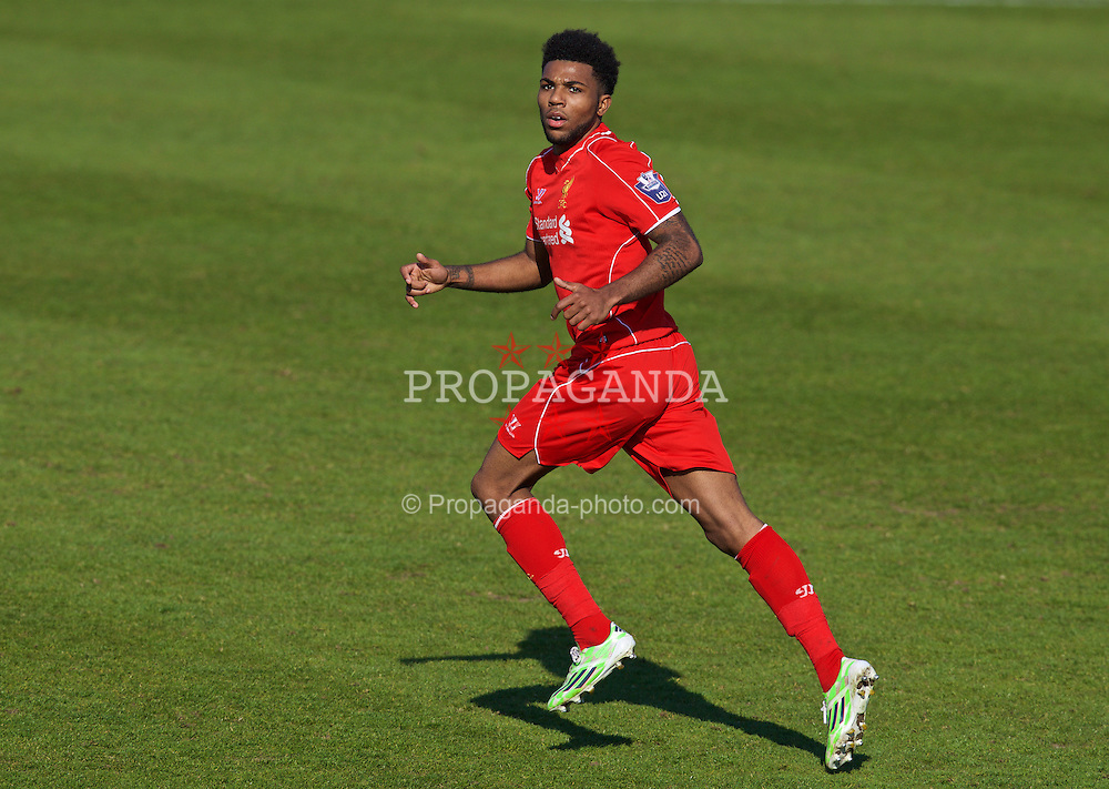CHESTER, WALES - Tuesday, April 7, 2015: Liverpool's Jerome Sinclair in action against Fulham during the Under 21 FA Premier League match at Deva Stadium. (Pic by David Rawcliffe/Propaganda)
