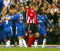 Photo: Scott Heavey, Digitalsport<br /> NORWAY ONLY<br /> <br /> Chelsea v Sothampton. FA Barclaycard Premiership. 01/05/2004.<br /> Martin Cranie walks away as Chelsea celebrate after his own goal