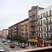 A panoramic Street Scene in Harlem, New York City, USA. 30th September 2014. Photo Tim Clayton