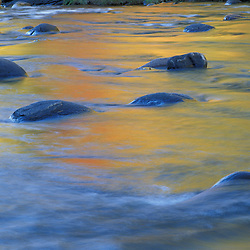 Jamaica, VT..Fall colors reflect in the West River.   Jamaica State Park.
