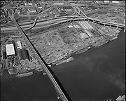 "Ackroyd 17214-12. ""aerials. April 12, 1971"", ""Zidell"" (Ross Island Bridge site)"
