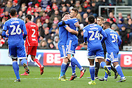 Cardiff City goal scorer Anthony Pilkington (orange boots) celebrates with team mate Joe Ralls after he scores his teams goal to equalise from the penalty spot. EFL Skybet championship match, Bristol City v Cardiff City at the Ashton Gate Stadium  in Bristol, Avon on Saturday 14th January 2017.<br /> pic by Carl Robertson, Andrew Orchard sports photography.