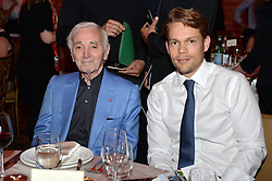 Exclusive - Charles Aznavour and son Nicolas Aznavour during a private luncheon at the Taglyan Complex to honor Charles Aznavour for his star on the Hollywood Walk of Fame next to the Pantages Theatre on August 24, 2017 in Los Angeles, CA, USA. Photo by Lionel Hahn/ABACAPRESS.COM
