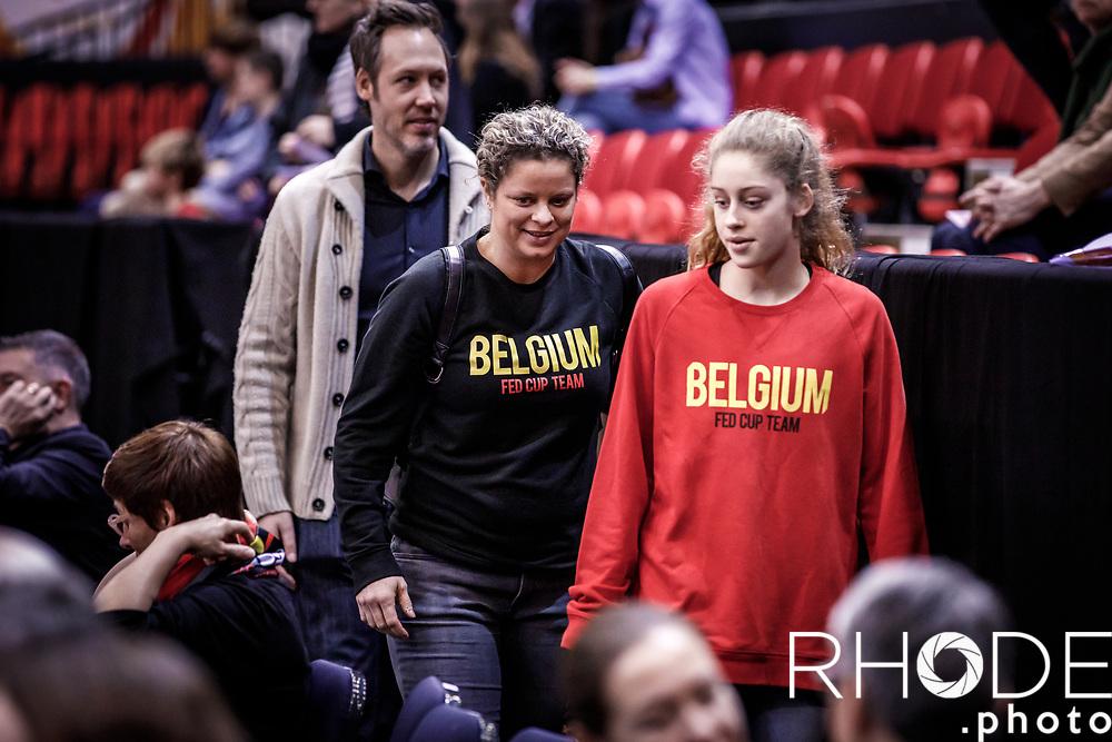 Kim Clijsters (BEL) and  Bryan Lynch (USA) and daughter came to watch and support the Belgian cats<br /> <br /> Belgian Cats kwalificeren zich voor Olympische Spelen in Tokio! <br /> <br /> Day 3: SWEDEN VS BELGIUM : 53-61<br /> <br /> FIBA Women's Olympic Qualifying Tournament 2020 – Ostend,  Belgium<br /> Ostend Versluys Dôme (BEL)<br /> <br /> ©RhodePhotoMedia