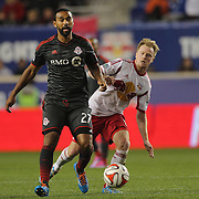 Luke Moore, Toronto FC, in action during the New York Red Bulls Vs Toronto FC, Major League Soccer regular season match at Red Bull Arena, Harrison, New Jersey. USA. 11th October 2014. Photo Tim Clayton