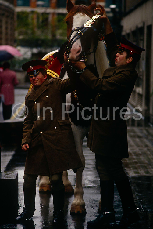 Troopers from the Household Cavalry struggle to fit a bridle on a heavy horse in a City of London courtyard before the annual Lord Mayor's parade through the London streets held every November. The tall horse bucks its head and fights the efforts of the two soldiers and one grimaces in the pressure to get ready for this ceremonial event, as other armed forces representatives march for the benefit of the new Lord Mayor. The British Household Cavalry is made up of two regiments of the British armed forces, the Life Guards and the Blues and Royals (Royal Horse Guards and 1st Dragoons).