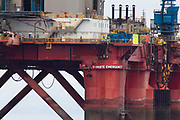 Greenpeace activists board a BP oil rig in Cromarty Firth to stop it from further oil drilling at sea, June 10th 2019, Cromarty, Scotland, United Kingdom. The oil rig Paul B. Loyd, Jnr, owned by Transocean, was due to head to BPs Vorlich field, 150 miles 241km east of Aberdeen to drill for oil for BP. The occupation by Greenpeace activists subsequently delayed the departure for 5 days and 14 activists were arrested in the process. Greenpeace says that in an age of climate emergency BP should not be drilling for new oil but look for non-fossil fuel means of energy.