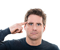one  man mature gesturing crazy portrait studio white background
