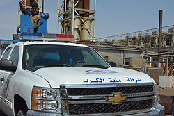 September 2, 2017 - A security car enters the site of the attack in a power plant in Iraq's northern central province of Salahudin, Sept. 2, 2017. Eight people were killed on Saturday when seven suicide bombers attacked a power plant in Iraq's northern central province of Salahudin, a provincial police source said.  (Credit Image: © Khalil Dawood/Xinhua via ZUMA Wire)