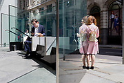 Ladies talk and a man uses his phone while sitting in sunshine during the lunchtime break on Threadneedle Street in the City of London, the capitals financial district, on 17th June 2019, in London, England.
