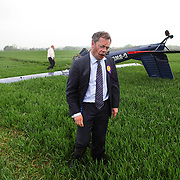 Image by Neil Hall<br /> UKIP Candidate Nigel Farage narrowly escapes death after his light aircraft crashed to the ground in Hinton Airfield, Bucks