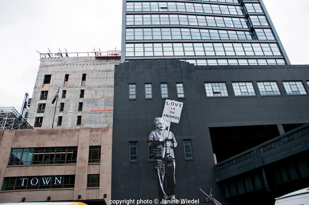 """love is the Answer"" Mural of Albert Einstein in lower Manhattan  by Mr.Brainwash New York City streets"