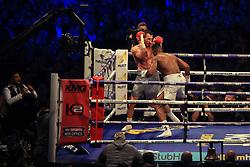 29 April 2017 - Boxing - Anthony Joshua v Wladimir Klitschko (IBF and WBA heavyweight) - Joshua with Klitschko on the back foot - Photo: Marc Atkins / Offside.